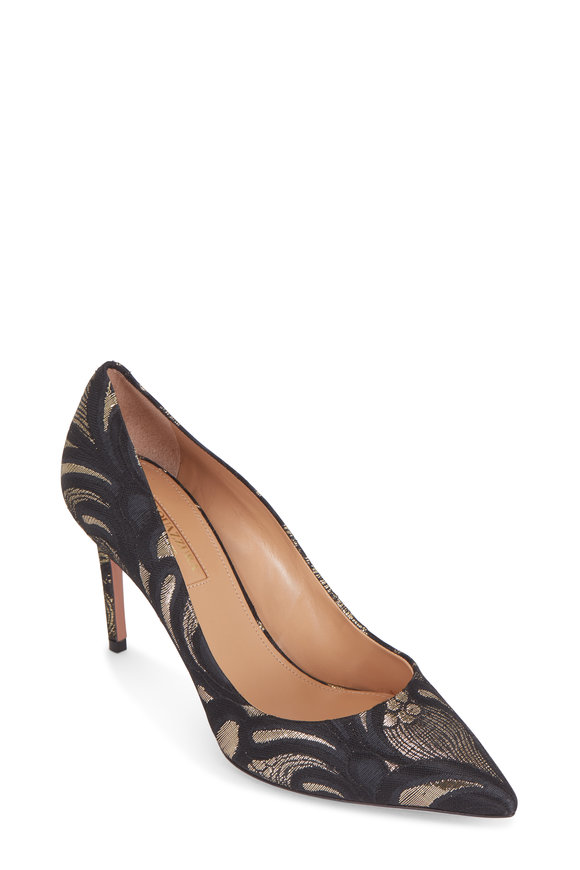 Aquazzura Simply Irresistible Black Jacquard Pump, 85mm