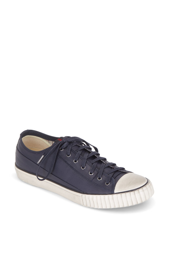 John Varvatos Midnight Coated Linen Laceless Low Top Sneaker
