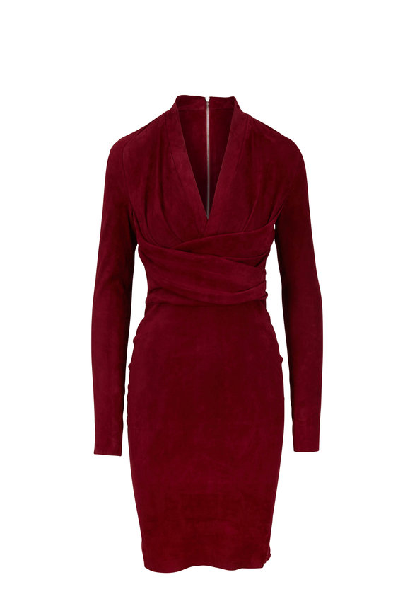Jitrois Astoria Cherry Red Stretch Suede Long Sleeve Dress