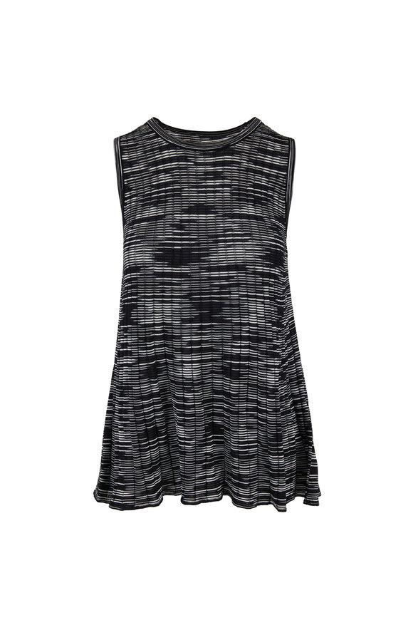 M Missoni Black & Gray Striped Knit Tank