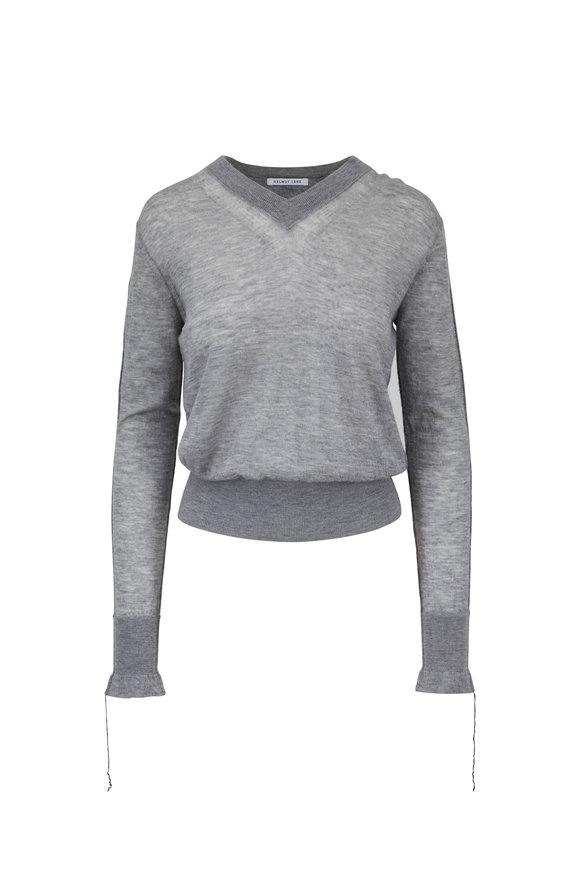 Helmut Lang Shadow Gray Cashmere V-Neck Sweater