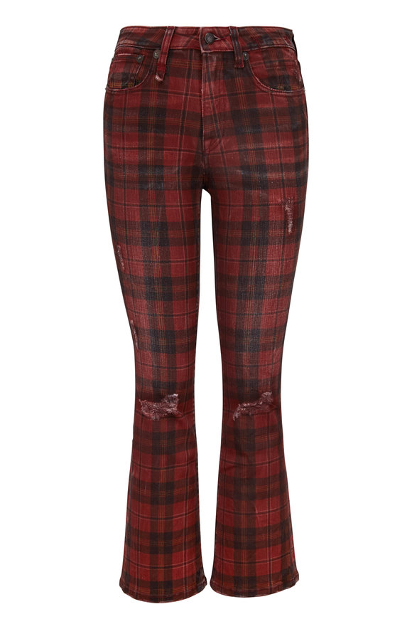 R13 Red Plaid Kick Fit Distressed Jean