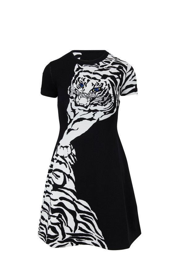 Valentino Black & White Tiger Jacquard Mini Dress