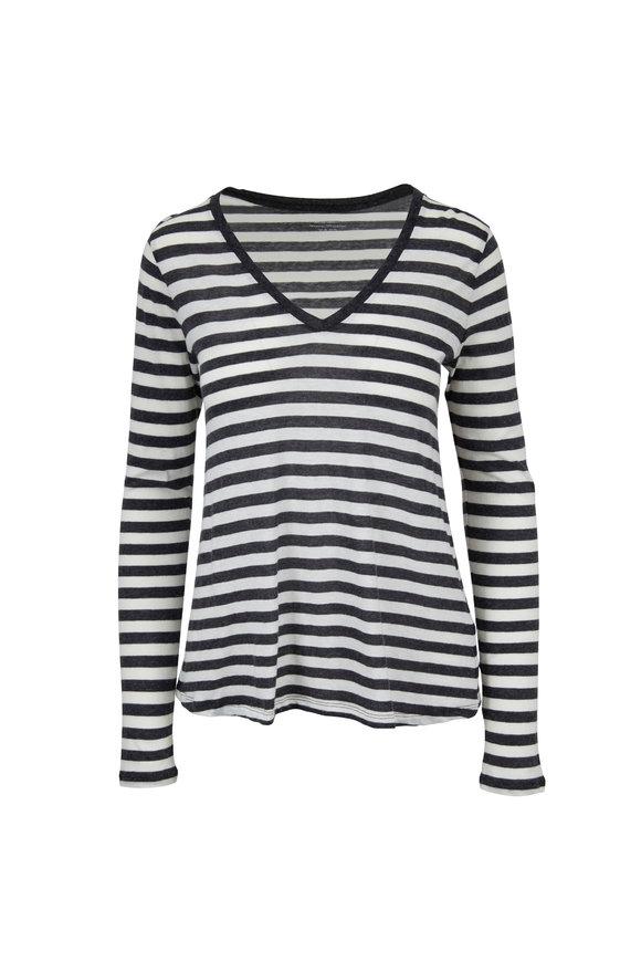 Majestic Anthracite & Ecru Striped V-Neck Deluxe T-Shirt