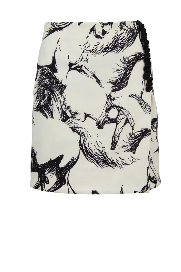 Adam Lippes Ivory Pony Printed Faux Wrap Mini Skirt