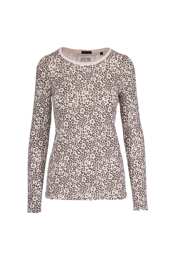 A T M Ivory & Brown Leopard Jersey Long Sleeve Tee