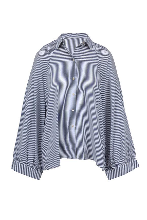 Nili Lotan Leah White & Blue Striped Silk Blouse