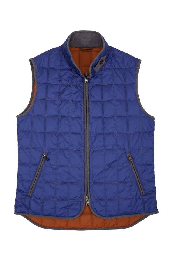 Waterville Theo Cobalt Blue Box Quilted Vest