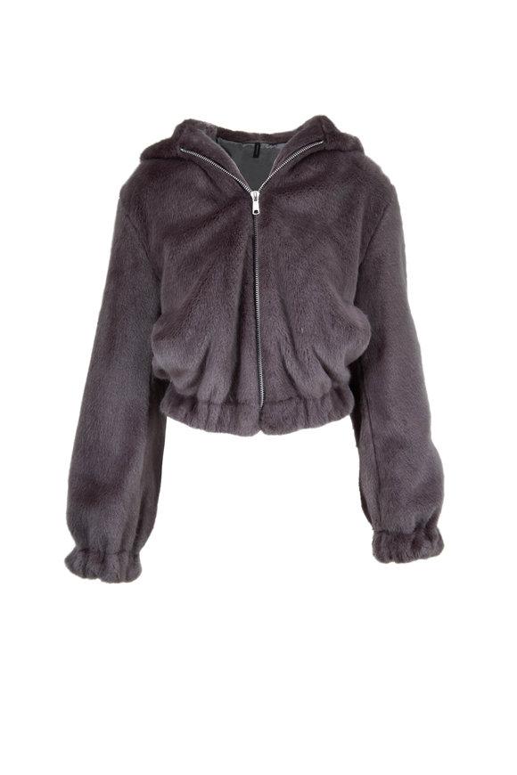 Helmut Lang Seal Gray Faux Mink Hooded Bomber Jacket