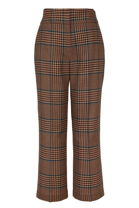 Veronica Beard Cormac Petrol Plaid Pant