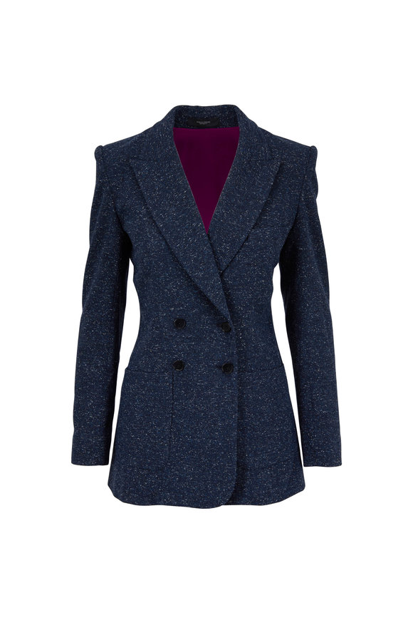 Norisol Ferrari Dark Indigo Tweed Double-Breasted Jacket