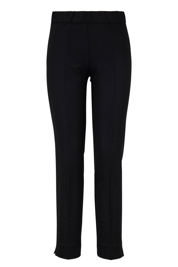 D.Exterior Black Front Pleat Pull-On Pant
