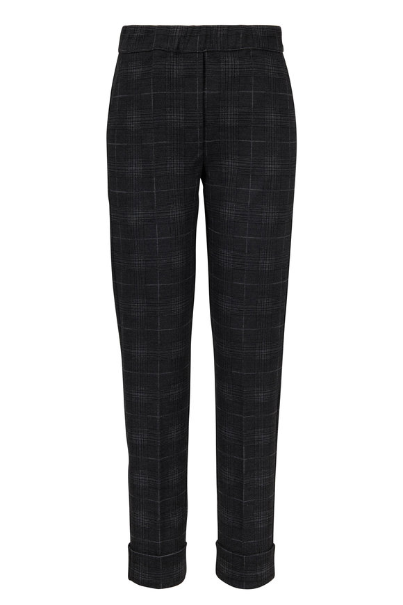D.Exterior Charcoal Gray Plaid Cuffed Pull-On Pant
