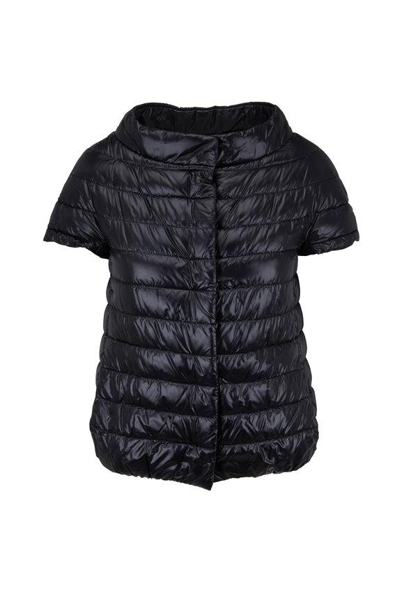 Herno Classic Black Cap Sleeve Jacket