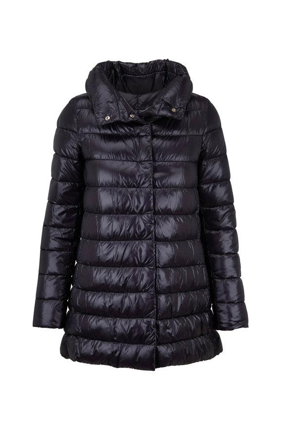 Herno Black Hi-Low Puffer Jacket