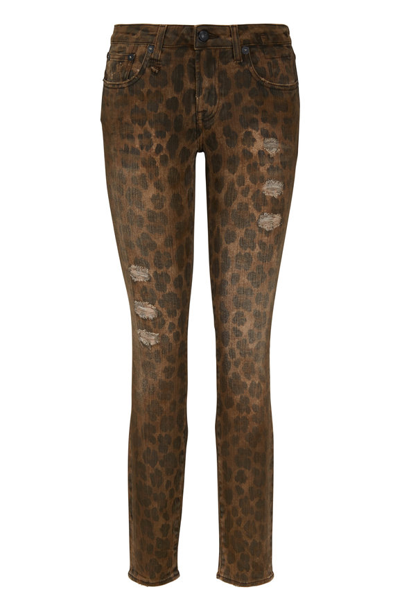 R13 Kate Leopard Distressed Cropped Skinny Jean