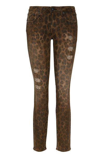 R13 - Kate Leopard Distressed Cropped Skinny Jean