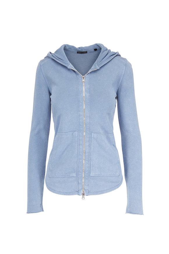 A T M Light Blue Cotton Zip-Up Hoodie