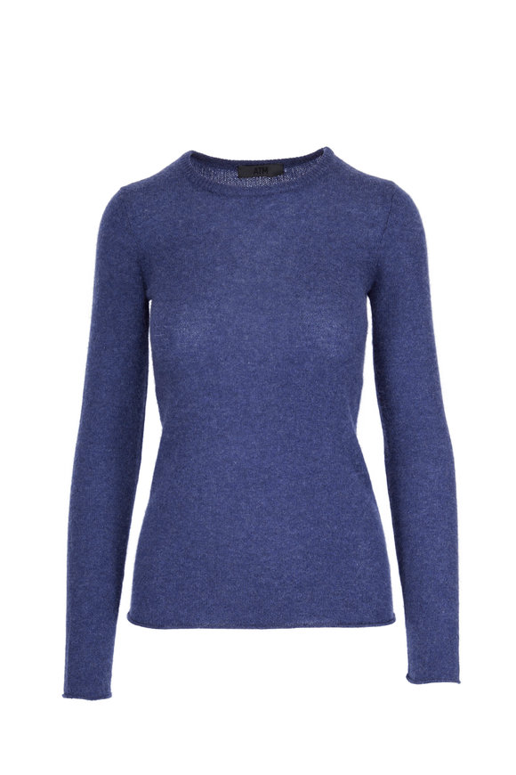 A T M Navy Cashmere Crewneck Sweater