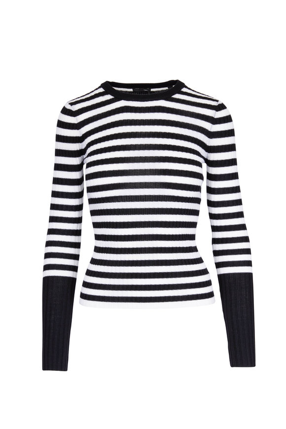 A T M Black & White Striped Ribbed Sweater