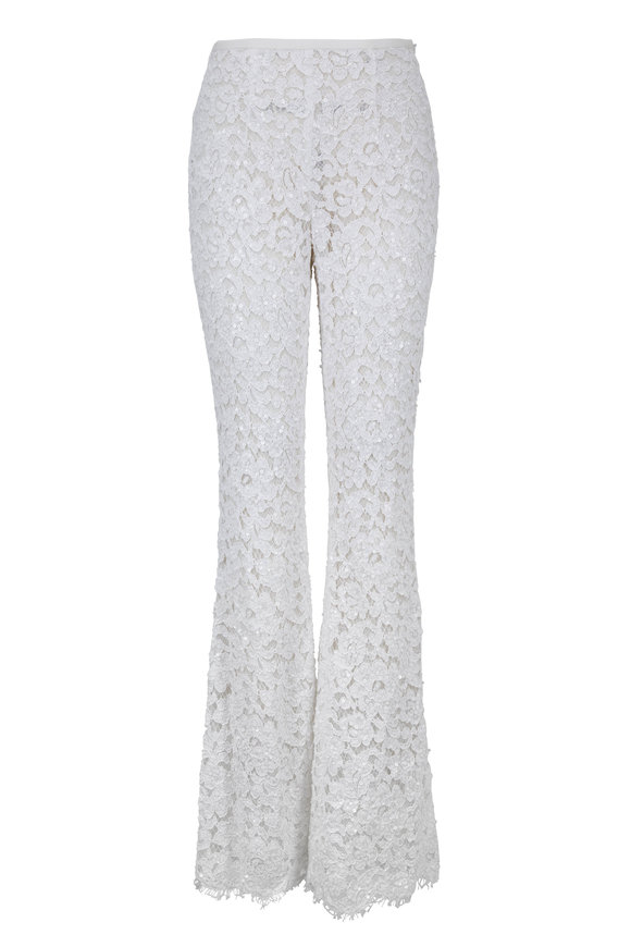 Michael Kors Collection Optic White Lace & Sequin Pant