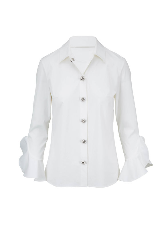 Michael Kors Collection Optic White Jewel Button Blouse