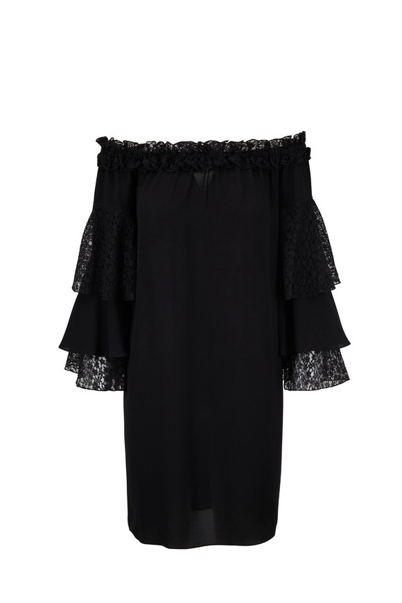Michael Kors Collection Black Silk Off-The-Shoulder Ruffled Sleeve Dress