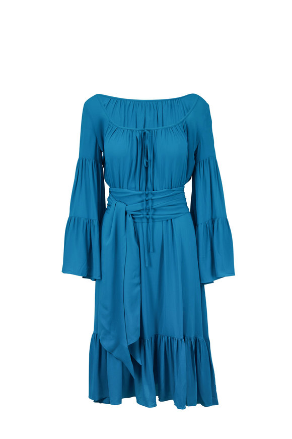 Michael Kors Collection Turquoise Silk Long Sleeve Peasant Dress