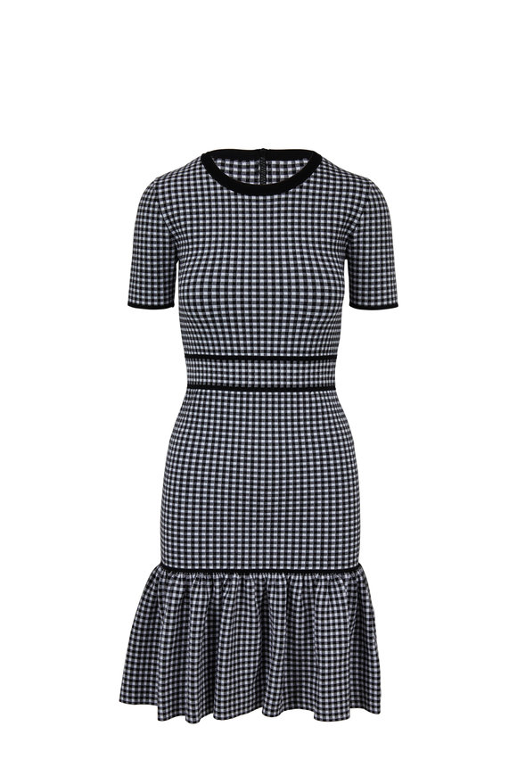 Michael Kors Collection Black & White Stretch Gingham Short Sleeve Dress