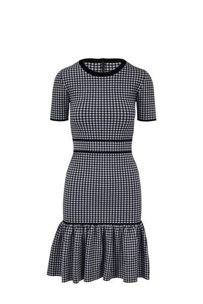 Michael Kors Collection - Black & White Stretch Gingham Short Sleeve Dress