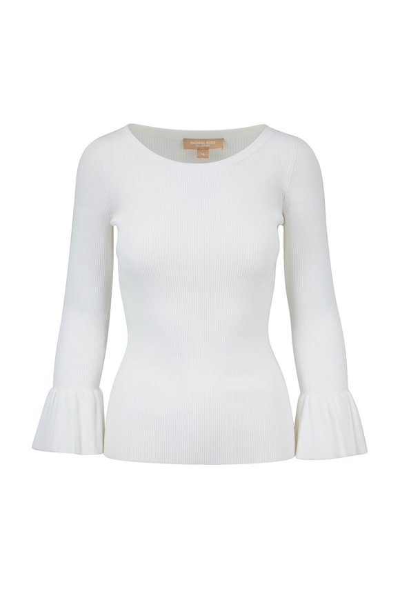 Michael Kors Collection Optic White Ribbed Fluted Cuff Sweater