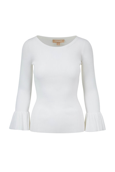 Michael Kors Collection - Optic White Ribbed Fluted Cuff Sweater