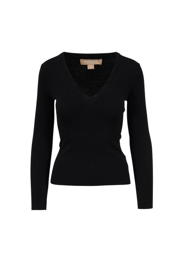 Michael Kors Collection Black Cashmere V-Neck Sweater