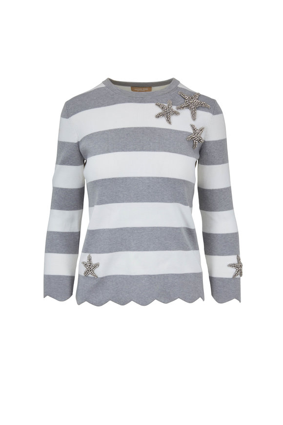 Michael Kors Collection Pearl Gray & White Striped Starfish Sweater
