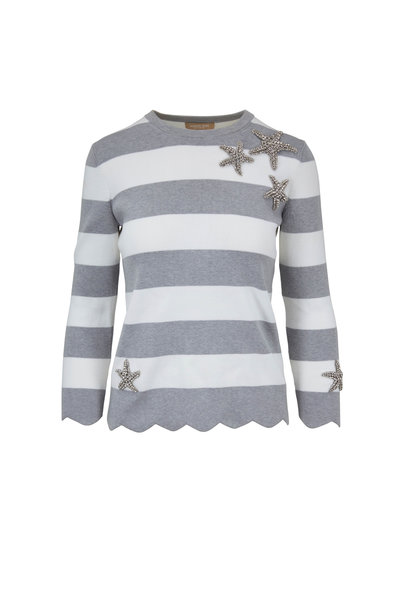Michael Kors Collection - Pearl Gray & White Striped Starfish Sweater