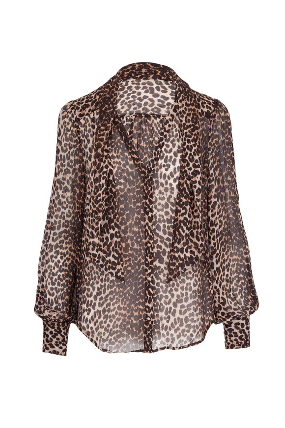 Paige Denim Cleobella Brown & Tan Silk Leopard Printed Blouse