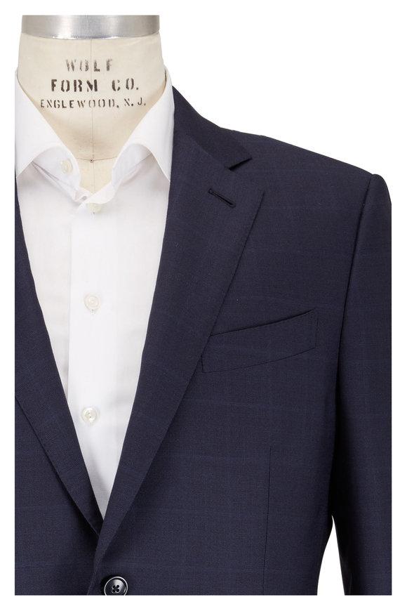 Ermenegildo Zegna Navy Blue Wool Blend Tonal Windowpane Check Suit