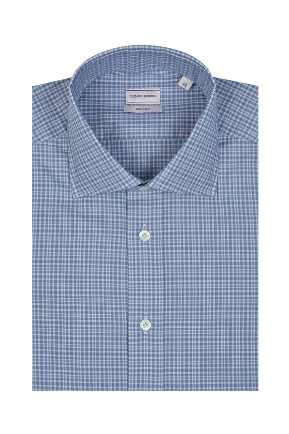 Luciano Barbera Blue & Gray Tattersall Sport Shirt