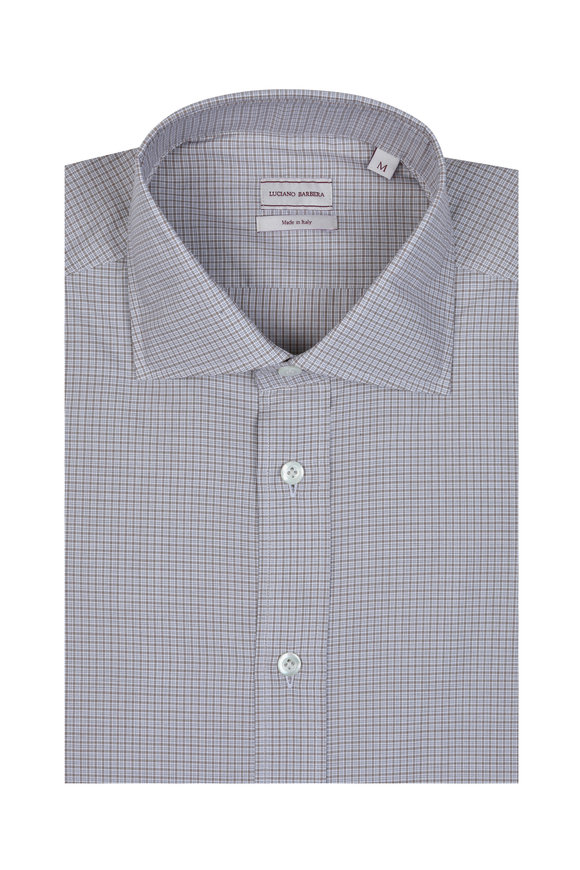 Luciano Barbera Tan Mini Check Sport Shirt