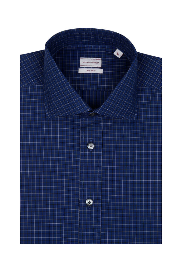 Luciano Barbera Navy Blue & White Check Sport Shirt