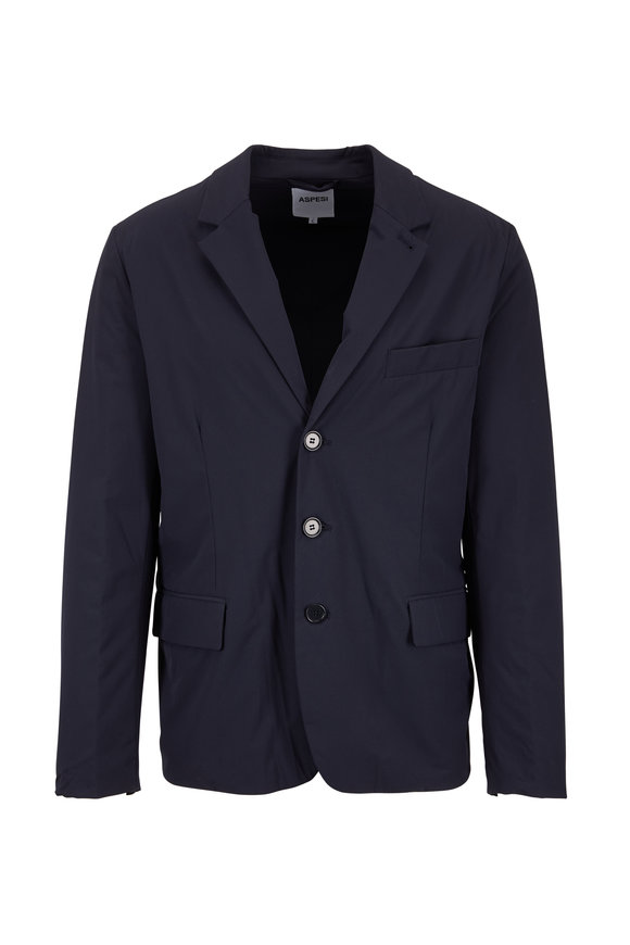 Aspesi Navy Blue Nylon Blazer