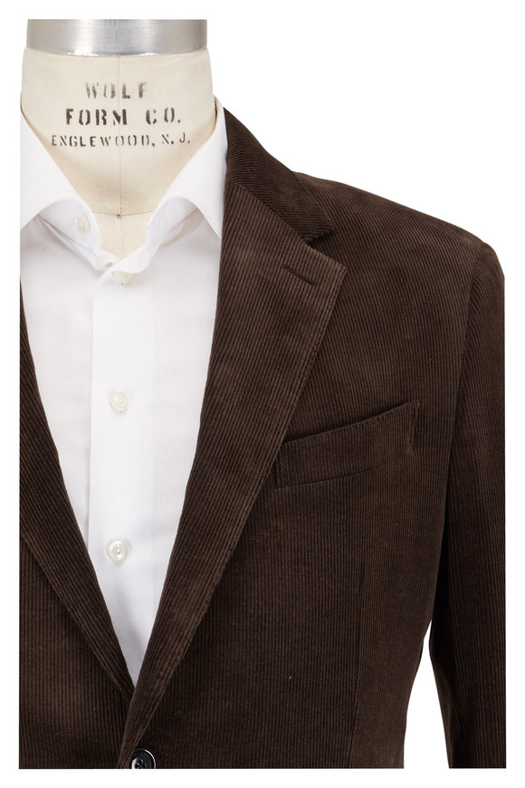 Ermenegildo Zegna Solid Brown Corduroy Sportcoat