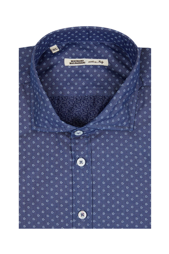Maurizio Baldassari Navy Blue Floral Print Sport Shirt