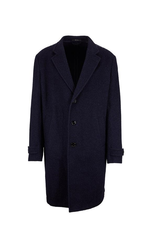 Ermenegildo Zegna Blue Wool, Silk & Cashmere Topcoat