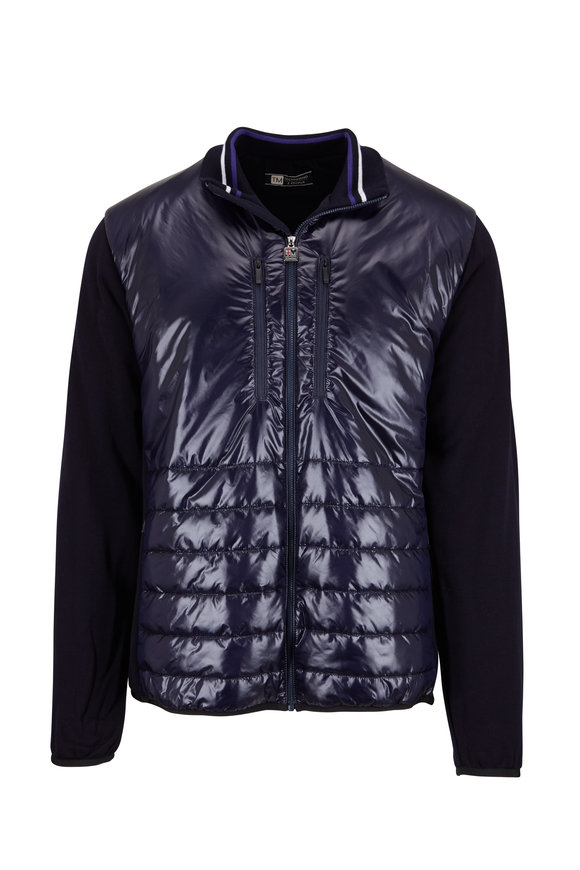 Z Zegna Navy Mixed Media Knit Sleeve Jacket