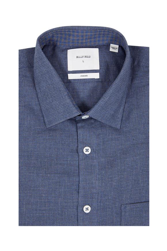 Billy Reid Blue Plaid Standard Fit Sport Shirt