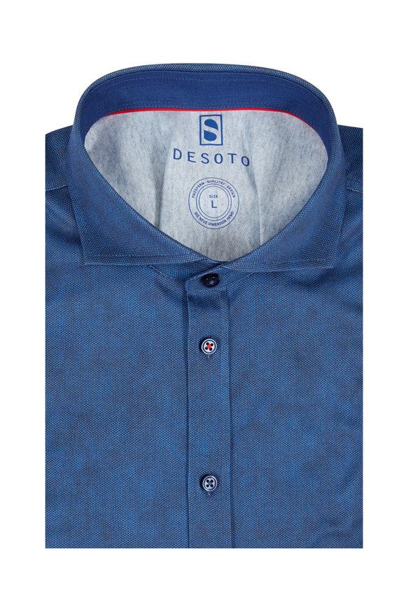 Desoto Indigo & Black Marled Knit Sport Shirt