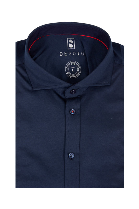 Desoto Solid Navy Blue Knit Sport Shirt