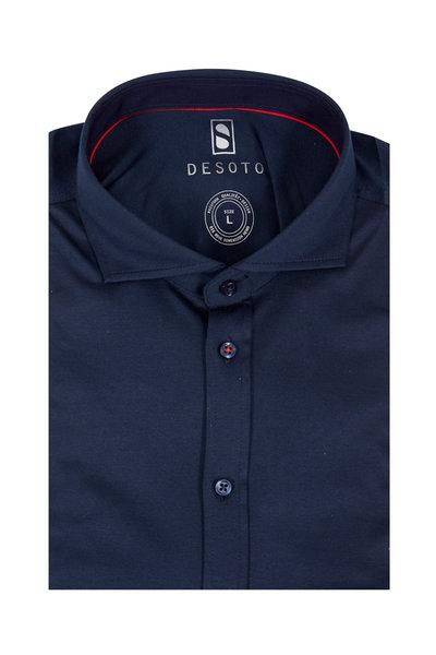 Desoto - Solid Navy Blue Knit Sport Shirt