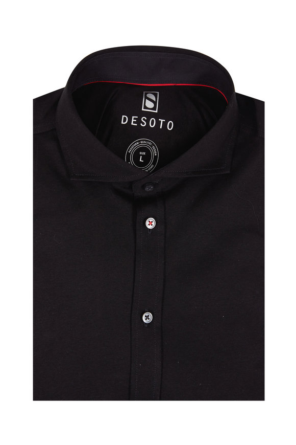 Desoto Solid Black Knit Sport Shirt